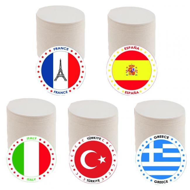 Bierviltjes met populaire vakantie landen vlaggen