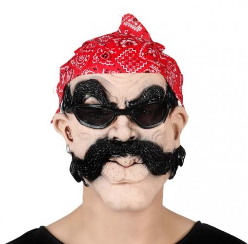 Bikers masker met bril en bandana