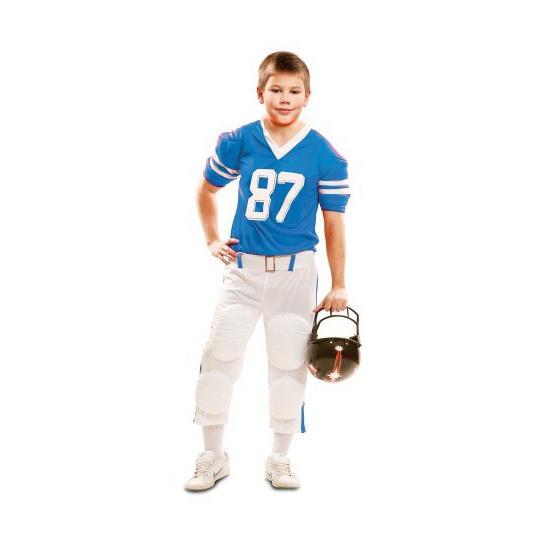 Blauw met wit American Football kostuum kids