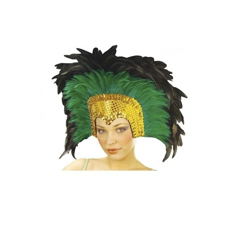 Carnaval Luxe veren tooi groen