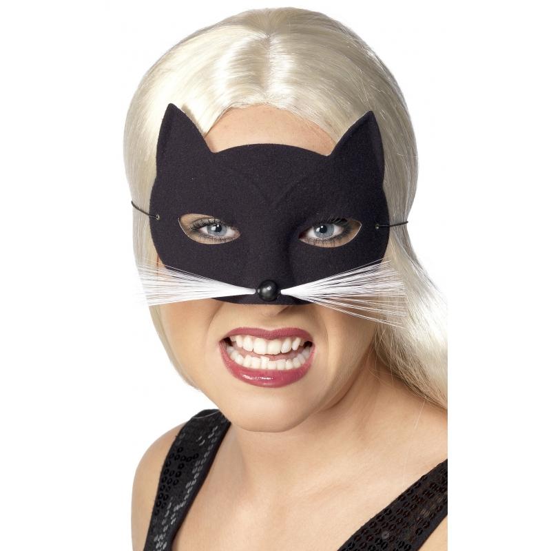 Zwarte katten oogmasker. katten masker voorzien van een elastiekje om op het gezicht te plaatsen. het masker ...