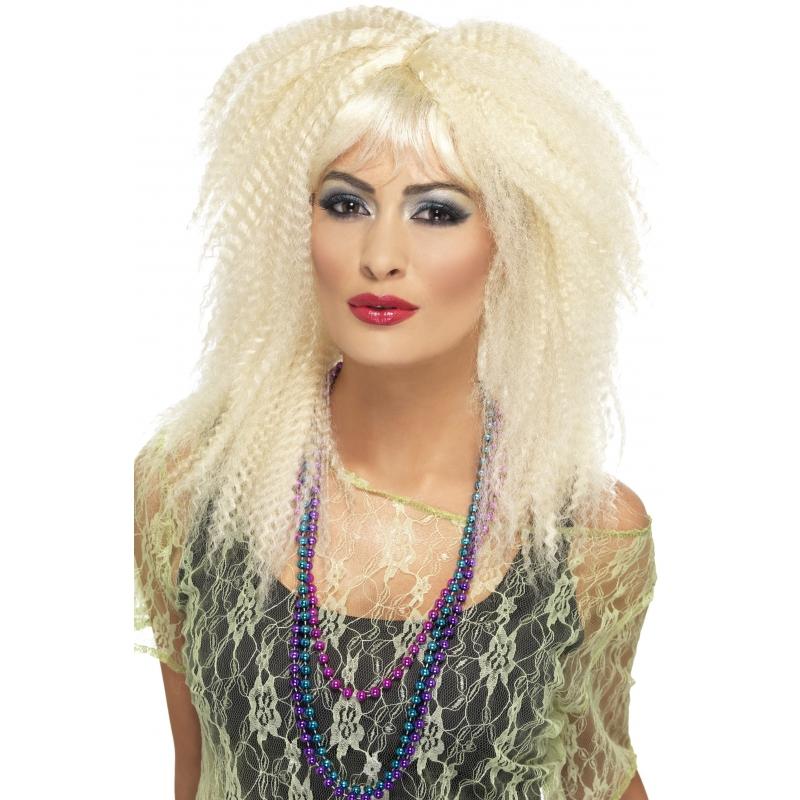 Carnavalspruik blond krullen met pony