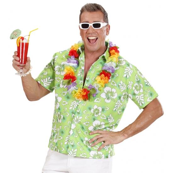 Groen Hawaii shirt met bloemen