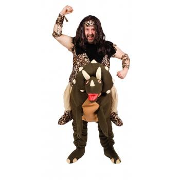 Oermens op een dinosaurus kostuum. kostuum van een oermens die op een dinosaurus rijdt. het kostuum bestaat ...