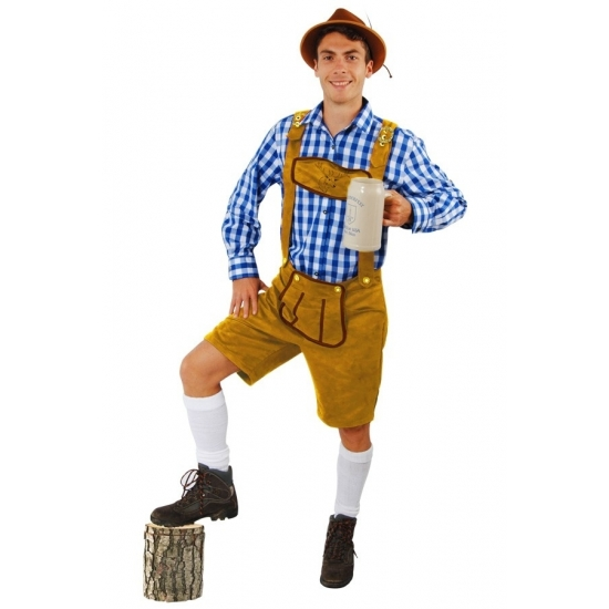 Oktoberfest Korte lederhose Markus lichtbruin voor heren