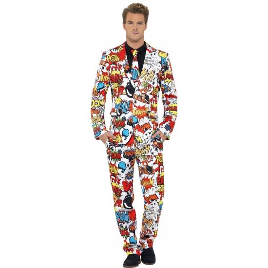 Heren kostuum comic strip. dit 3 delig heren kostuum met colbert, broek en stropdas heeft een all over print ...