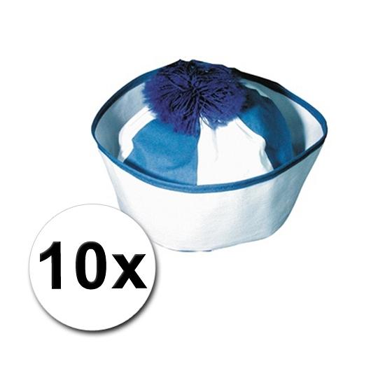 Pakket met 10 blauwe matrozen petjes icm zeeman tattoos