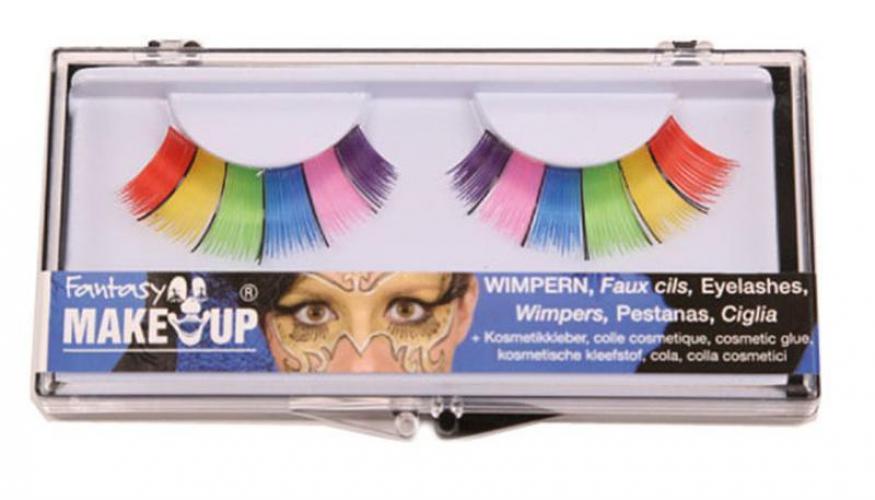 Regenboog wimpers met cosmetische lijm