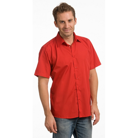 Rode Overhemd.Rode Heren Overhemden Met Korte Mouwen