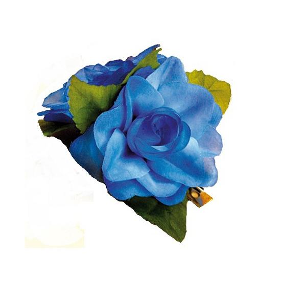 Rozen haarclip blauw