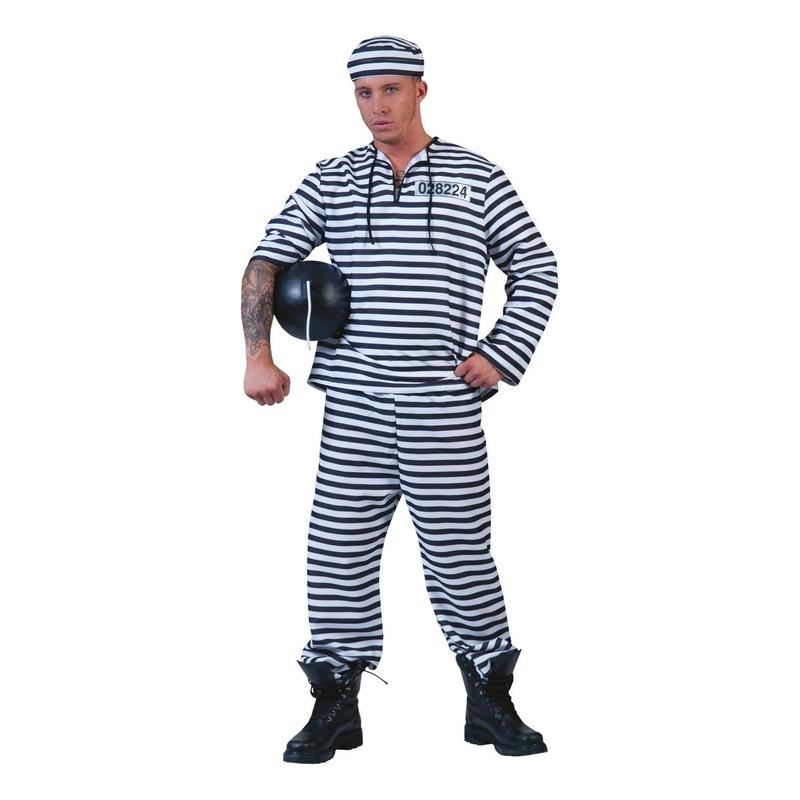 Zwart/wit gestreept gevangenen pak