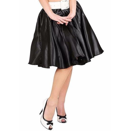 Zwarte fifties rok met petticoat voor dames. fifties rock and roll stijl zwarte rok met satijnlook en ...