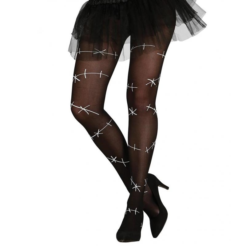 Zwarte horror legging met witte naden