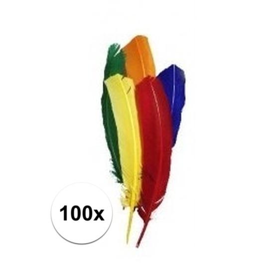 100x Gekleurde veertjes