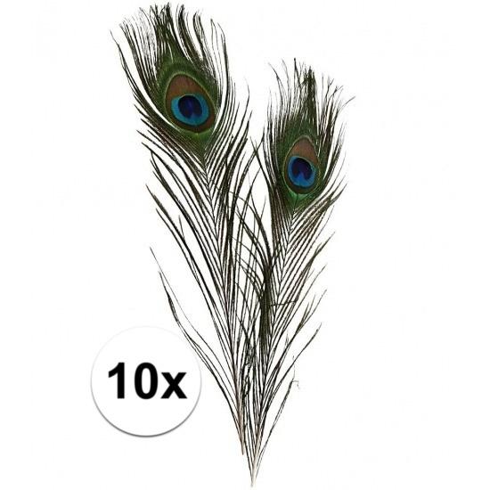 10x Decoratie pauwenveren