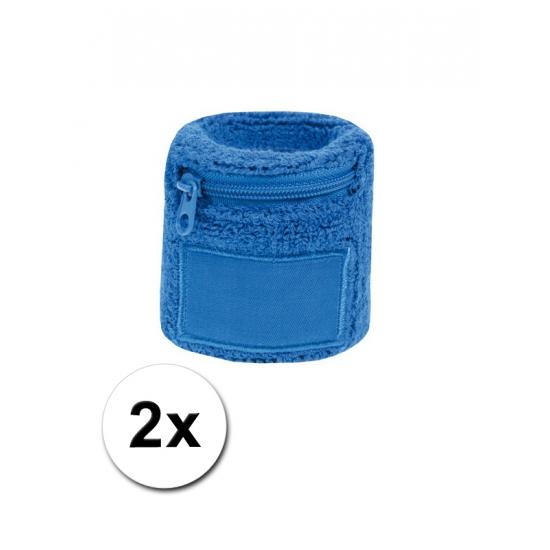 2x Blauw zweetbandje voor de pols met rits
