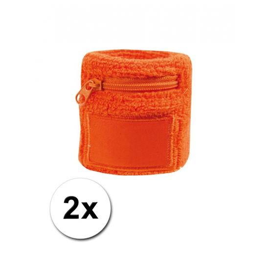 2x Oranje zweetbandje voor de pols met rits
