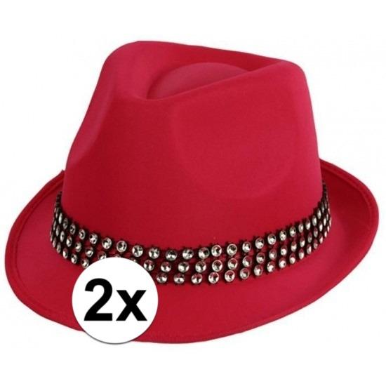 2x-voordelige-roze-toppers-hoed-met-zilveren-steentjes