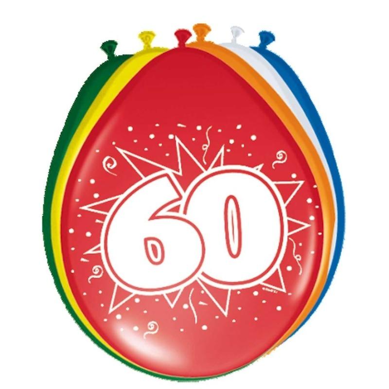 8x stuks Ballonnen versiering 60 jaar