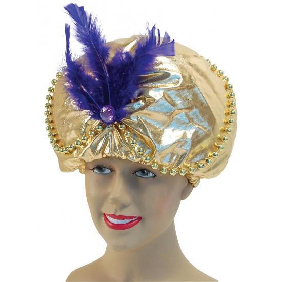 Feest hoeden Arabische hoed met paarse veer