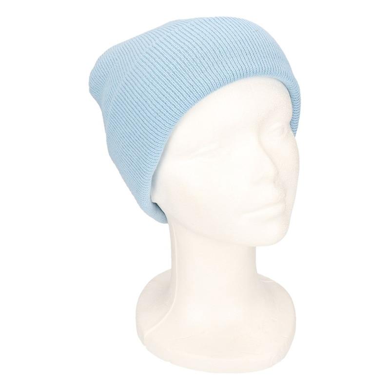 Basic winter muts lichtblauw voor jongens