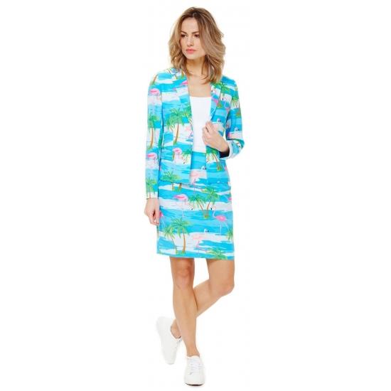 Blauw getailleerd mantelpak voor dames met zomerprint