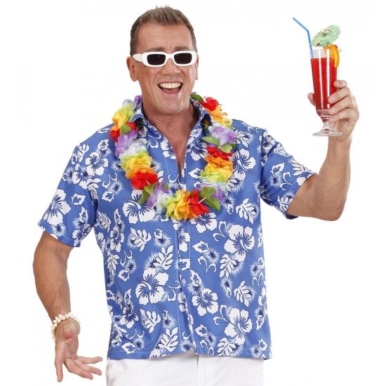Landen kostuums Carnavalskostuum winkel Blauw Hawaii shirt met bloemen