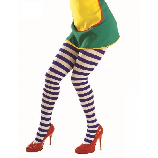Blauw met wit gestreepte dames panty Carnavalskostuum winkel Kopen