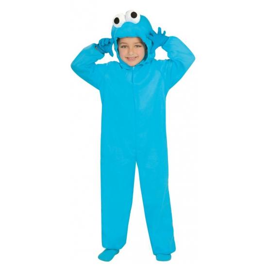 Blauw pluche monster pak voor kinderen