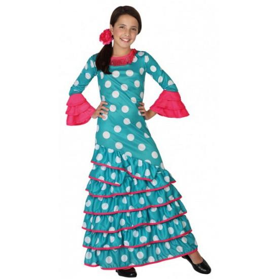 Landen kostuums Carnavalskostuum winkel Blauwe Flamenco jurk voor meiden