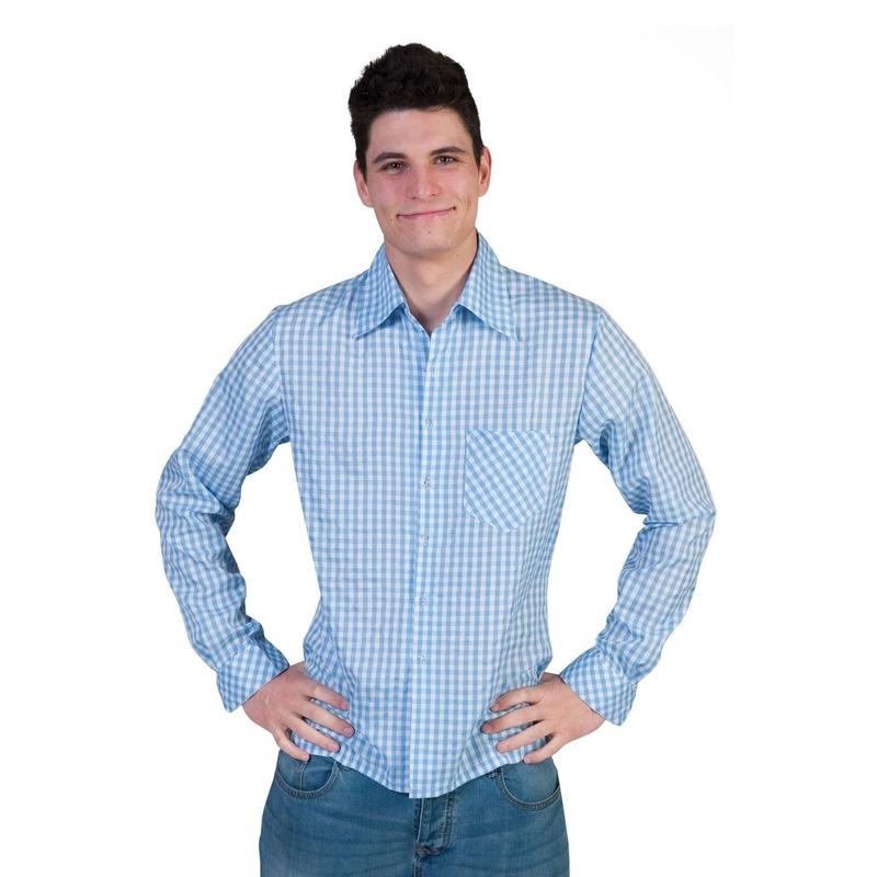 Blauwe geruite verkleedkleding voor heren