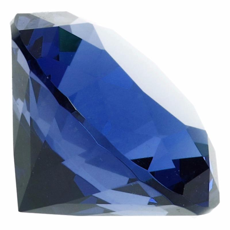 Blauwe nep diamant 4 cm van glas