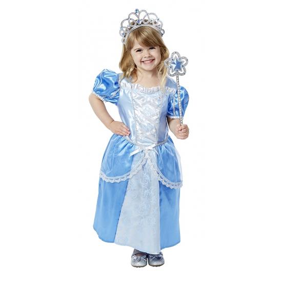 Blauwe prinsessenjurk met accessoires voor meisjes Carnavalskostuum winkel Schitterend