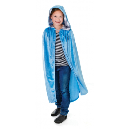 Blauwe velours cape met capuchon