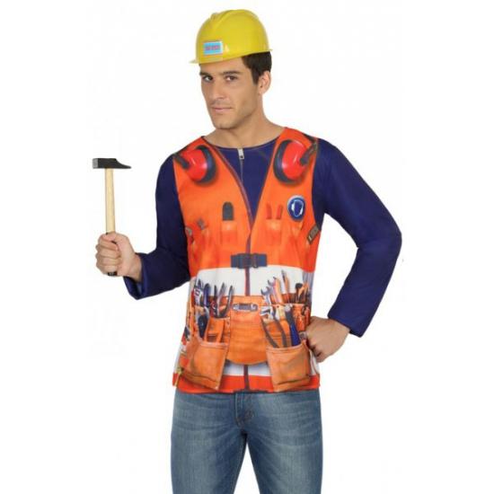 Bouwvakker verkleed shirt voor heren Carnavalskostuum winkel Beroepen kostuums