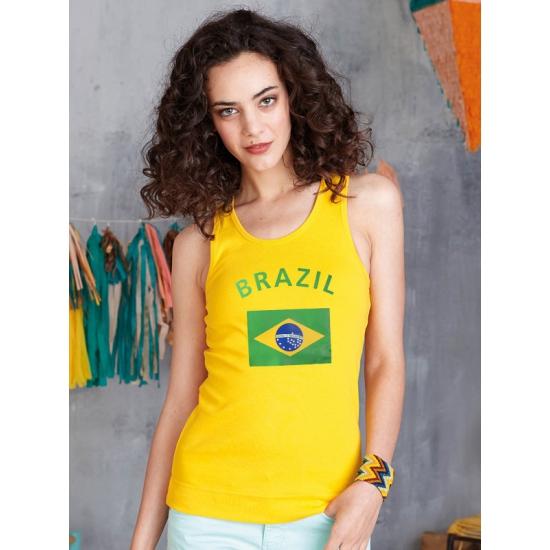 Shoppartners Brazilie dames top geel Landen versiering en vlaggen