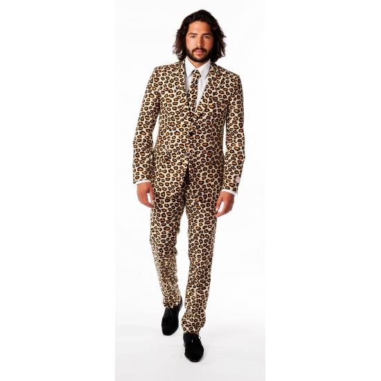 Bruin herenpak met luipaard print