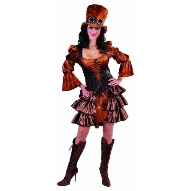 Bruine dames jurk met pofmouwen Carnavalskostuum winkel Fantasy en Sprookjes kostuums