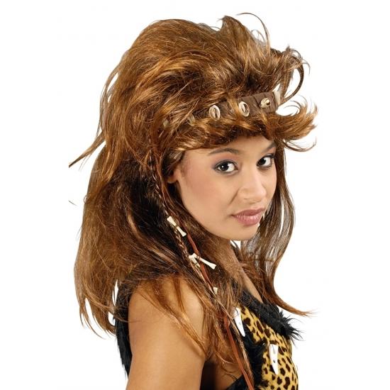 Bruine holbewoner damespruik Carnavalskostuum winkel Goedkoop