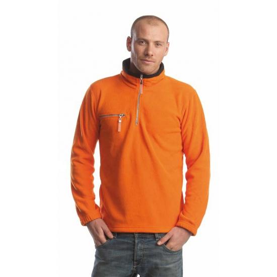 Budget oranje met zwart fleece sweater