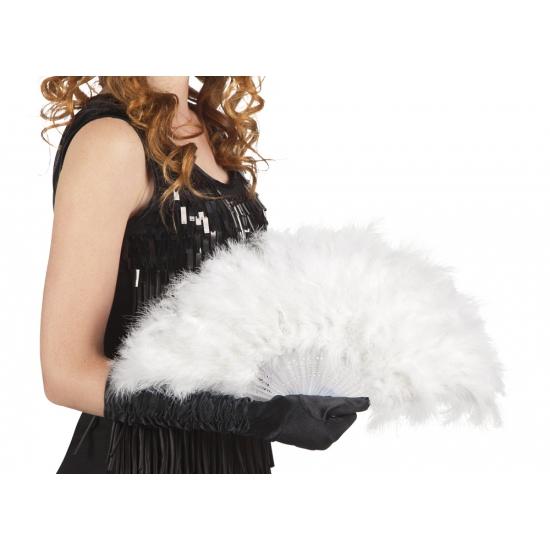 Verkleedaccessoires Carnavalskostuum winkel Burlesque waaier wit