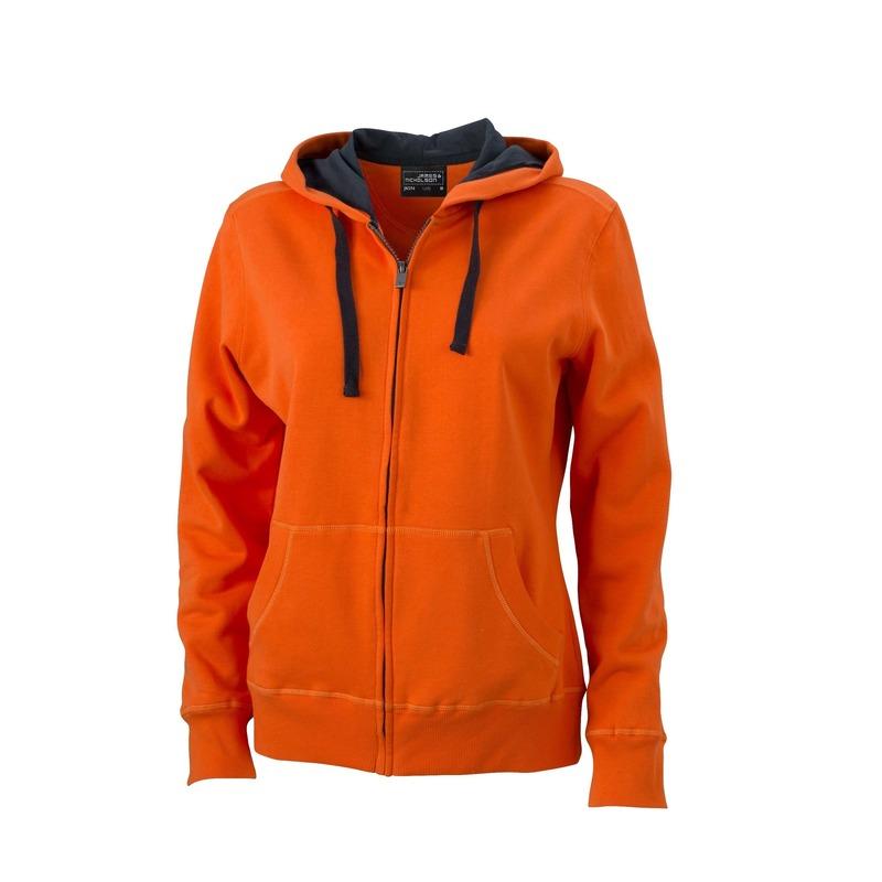 Capuchon sweatvestje oranje voor dames
