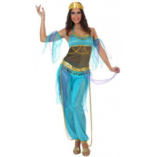 Carnaval 1001 nacht kostuum blauw voor dames