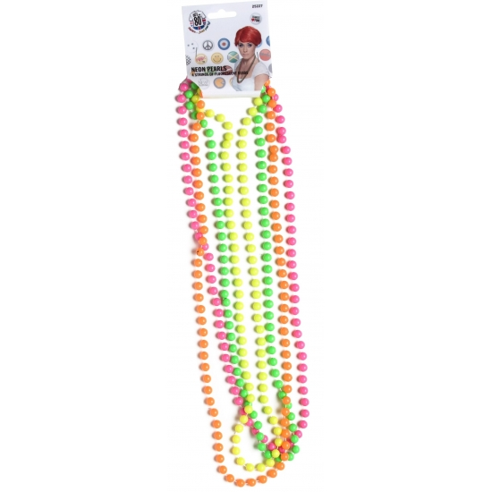 4 dames kralen kettingen. 4 stuks dames kralen kettingen in verschillende fluoriserende kleuren. materiaal: ...