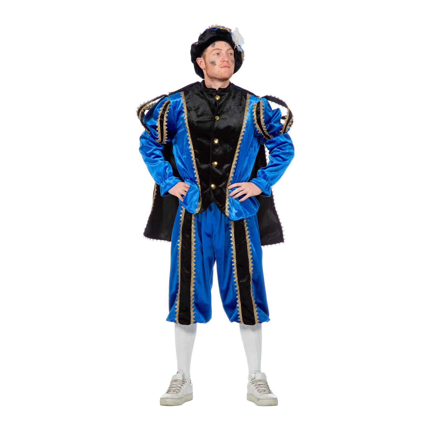 Carnaval Blauw/zwarte pieten kostuum fluweel