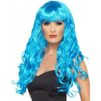 Carnaval Blauwe dames krullen pruik