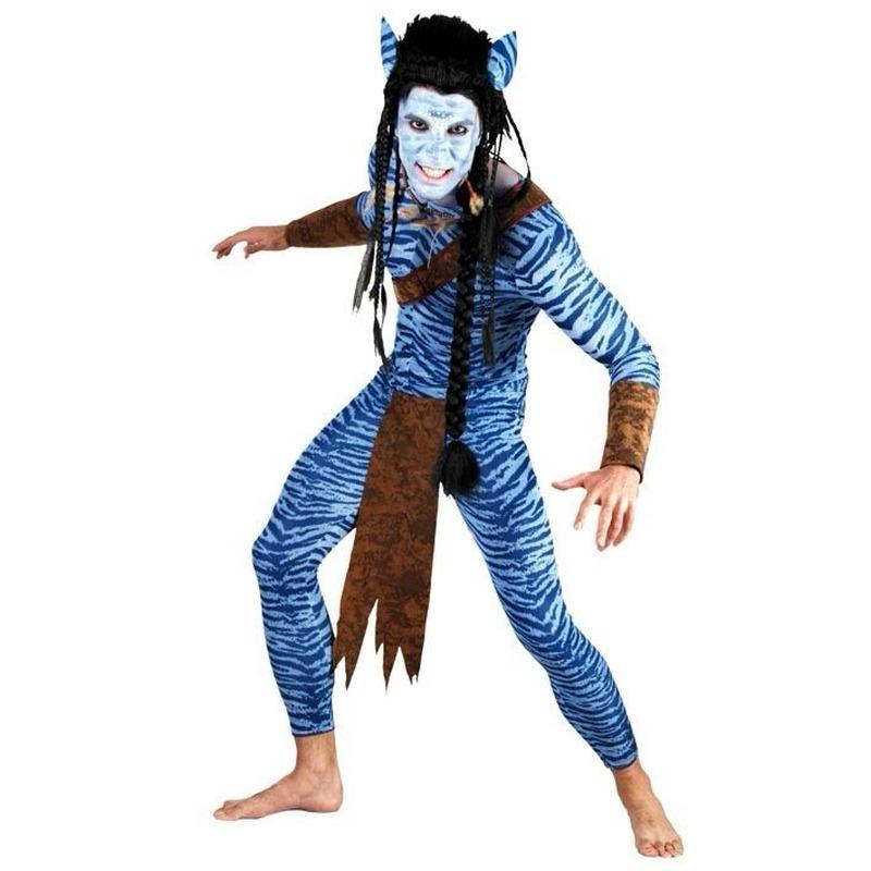 Carnaval Blauwe jungle strijder kostuum voor heren