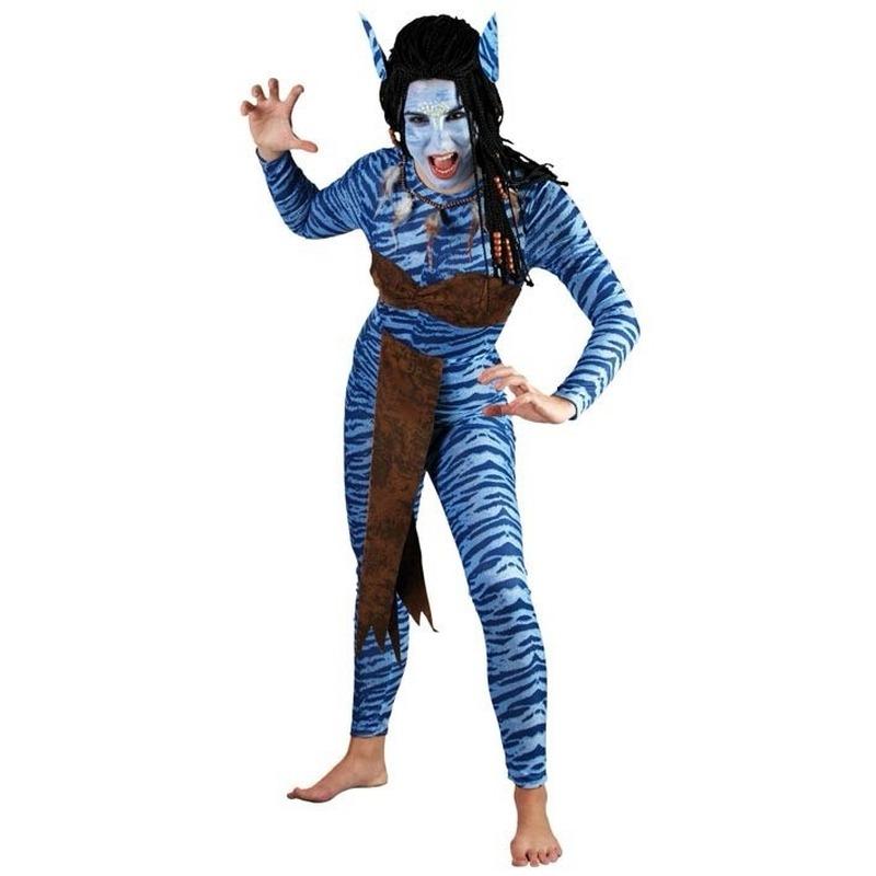 Carnaval Blauwe jungle strijdster kostuum voor dames