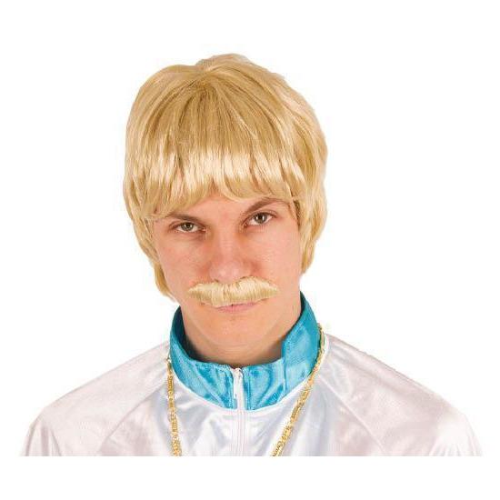 Carnaval Blonde heren pruik met snor Carnavalskostuum winkel voordeligste prijs