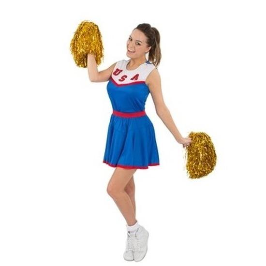 Carnaval Cheerleader jurkje blauw voor dames